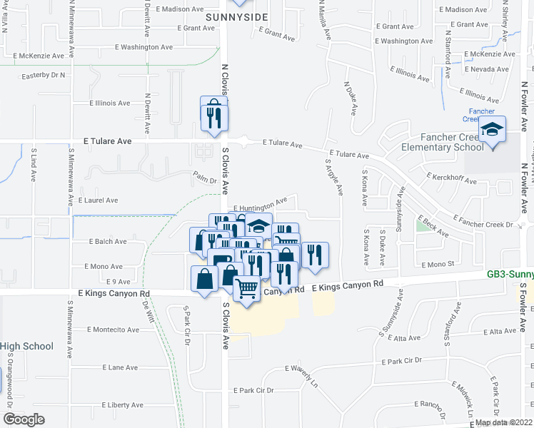 map of restaurants, bars, coffee shops, grocery stores, and more near 404 South Waverly Lane in Fresno