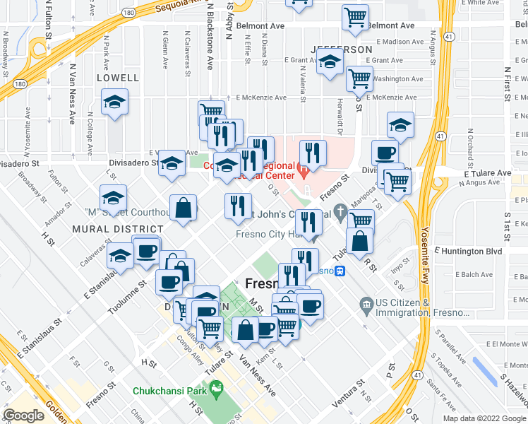 map of restaurants, bars, coffee shops, grocery stores, and more near P Street & Merced Street in Fresno