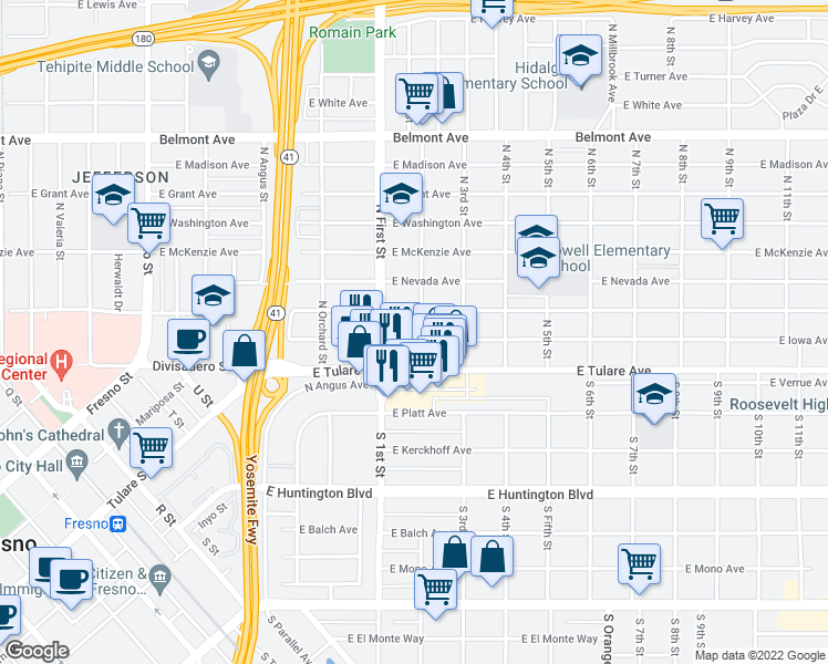 map of restaurants, bars, coffee shops, grocery stores, and more near 3155 East Iowa Avenue in Fresno