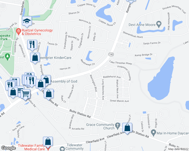 map of restaurants, bars, coffee shops, grocery stores, and more near Chatham Lane in Chesapeake