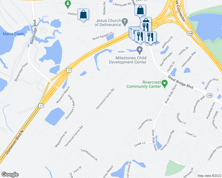map of restaurants, bars, coffee shops, grocery stores, and more near 606 Fernwood Farms Road in Chesapeake