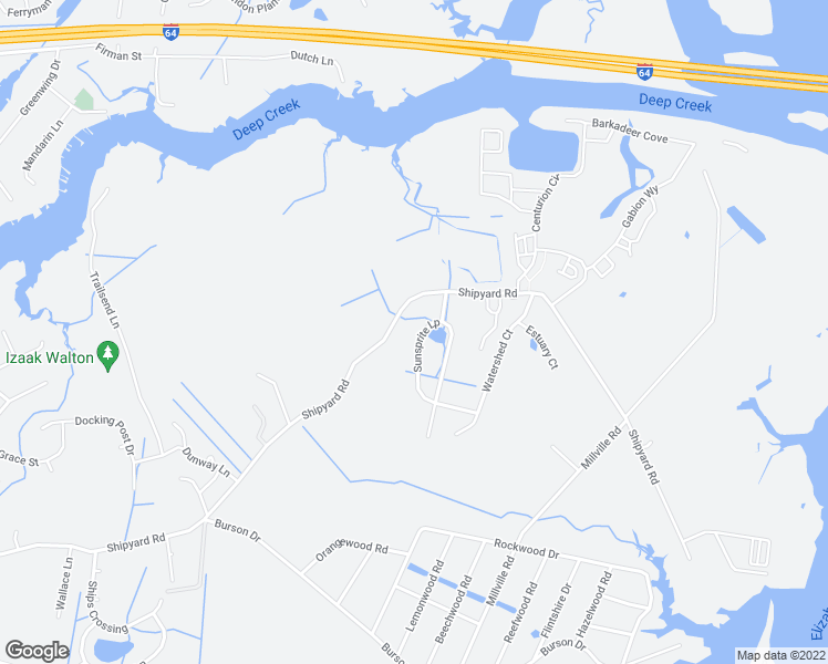map of restaurants, bars, coffee shops, grocery stores, and more near 1831 Sunsprite Loop in Chesapeake