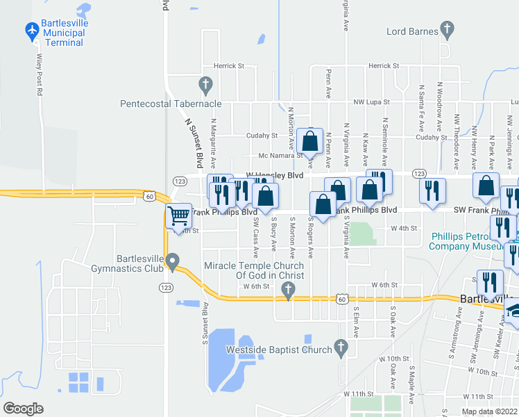 map of restaurants, bars, coffee shops, grocery stores, and more near 1605 Southwest Frank Phillips Boulevard in Bartlesville