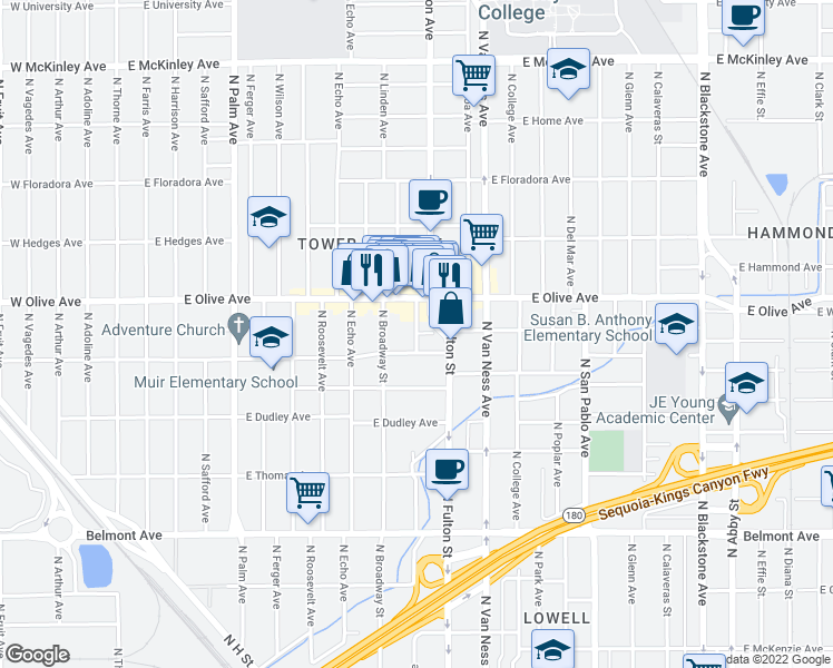 map of restaurants, bars, coffee shops, grocery stores, and more near N Yosemite Ave & E Alhambra Ave in Fresno
