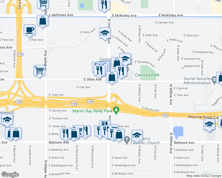 map of restaurants, bars, coffee shops, grocery stores, and more near 1080 North Chestnut Avenue in Fresno