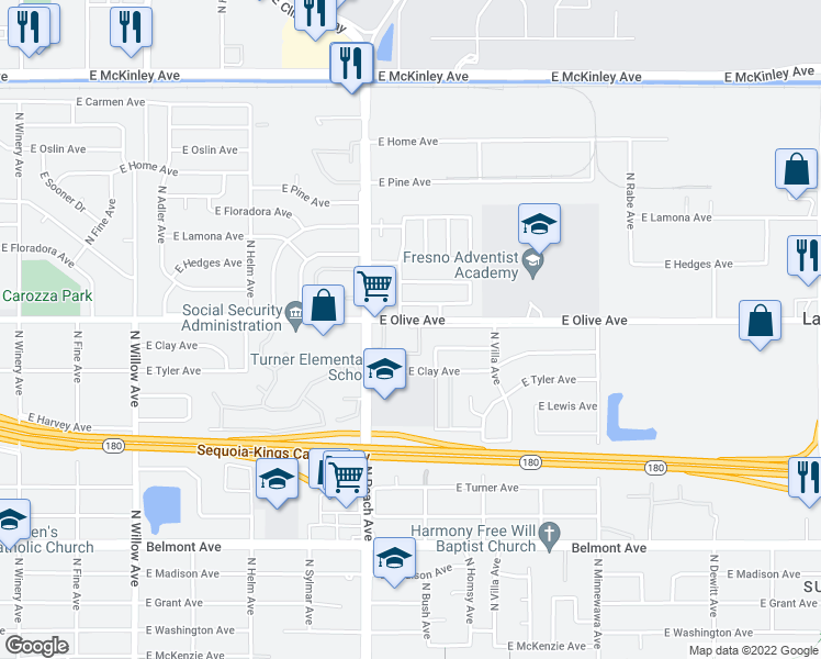 map of restaurants, bars, coffee shops, grocery stores, and more near 5255-5273 East Olive Avenue in Fresno