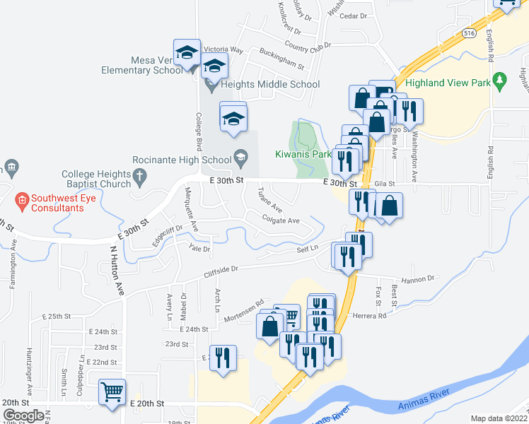 map of restaurants, bars, coffee shops, grocery stores, and more near 3109 Tulane Avenue in Farmington