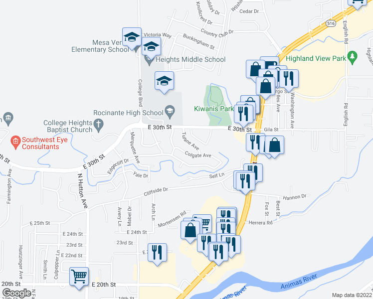 map of restaurants, bars, coffee shops, grocery stores, and more near 3005 Tulane Avenue in Farmington