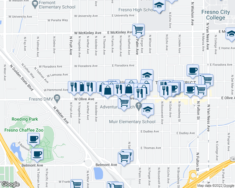 map of restaurants, bars, coffee shops, grocery stores, and more near N First St & E Hammond Ave in Fresno