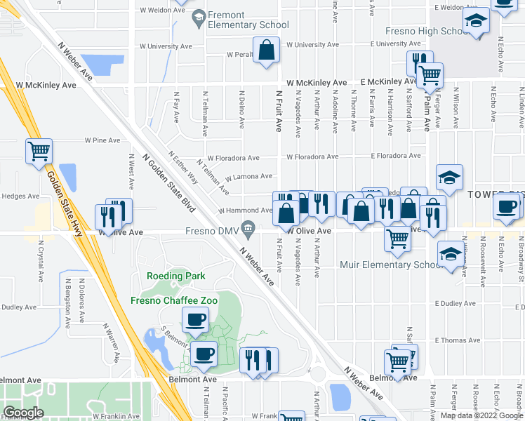 map of restaurants, bars, coffee shops, grocery stores, and more near 545 West Hammond Avenue in Fresno