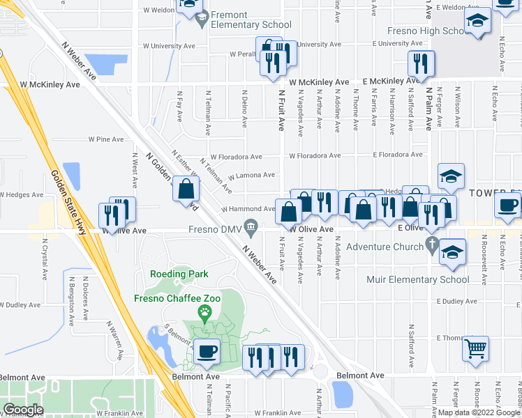 map of restaurants, bars, coffee shops, grocery stores, and more near 603 W Hammond Ave in Fresno