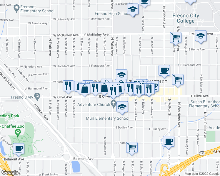 map of restaurants, bars, coffee shops, grocery stores, and more near 1249 N Palm Ave in Fresno