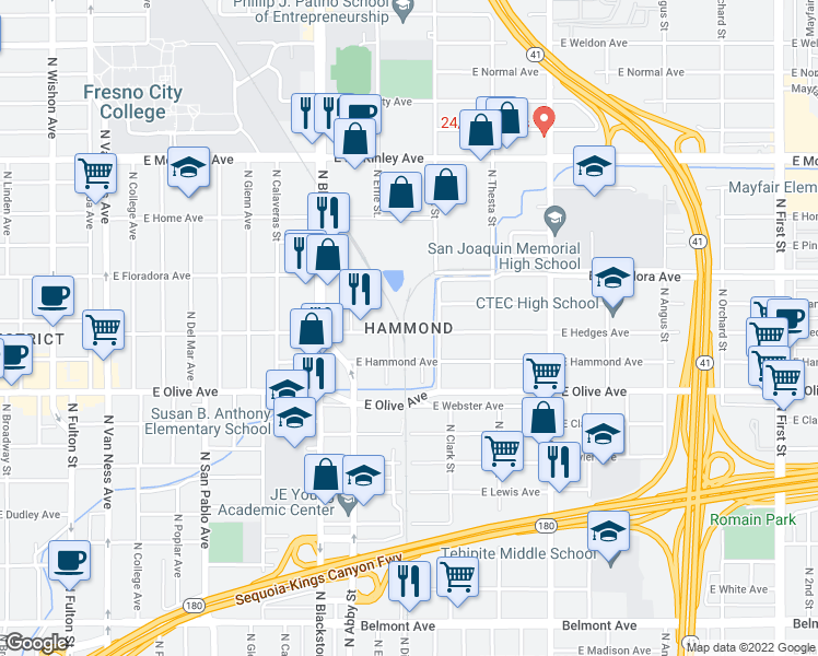 map of restaurants, bars, coffee shops, grocery stores, and more near in Fresno