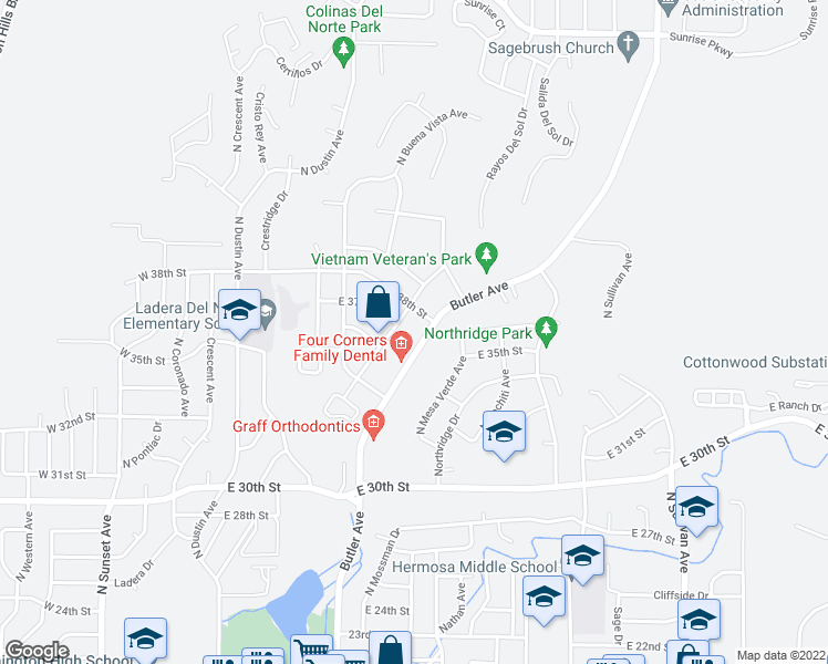 map of restaurants, bars, coffee shops, grocery stores, and more near 3751 Butler Avenue in Farmington