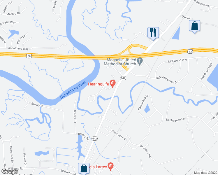 map of restaurants, bars, coffee shops, grocery stores, and more near 1614 River Creek Crescent in Suffolk