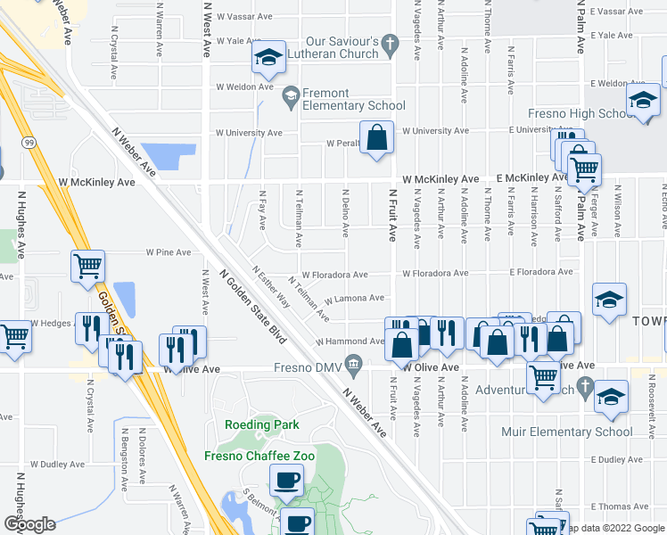 map of restaurants, bars, coffee shops, grocery stores, and more near 722 West Floradora Avenue in Fresno