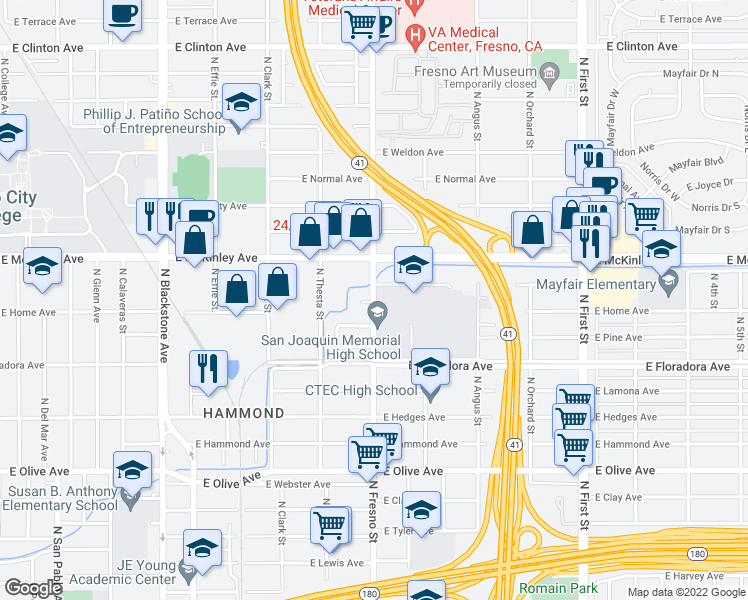 map of restaurants, bars, coffee shops, grocery stores, and more near 1498 North Fresno Street in Fresno