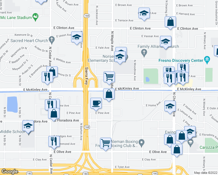 map of restaurants, bars, coffee shops, grocery stores, and more near 4566-4598 East McKinley Avenue in Fresno