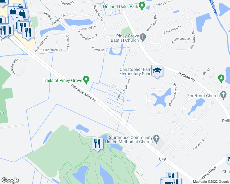 map of restaurants, bars, coffee shops, grocery stores, and more near 2920 Bermuda Grass Loop in Virginia Beach