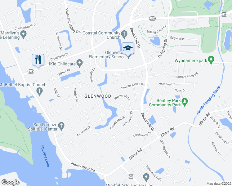 map of restaurants, bars, coffee shops, grocery stores, and more near 3817 Stumpy Lake Lane in Virginia Beach