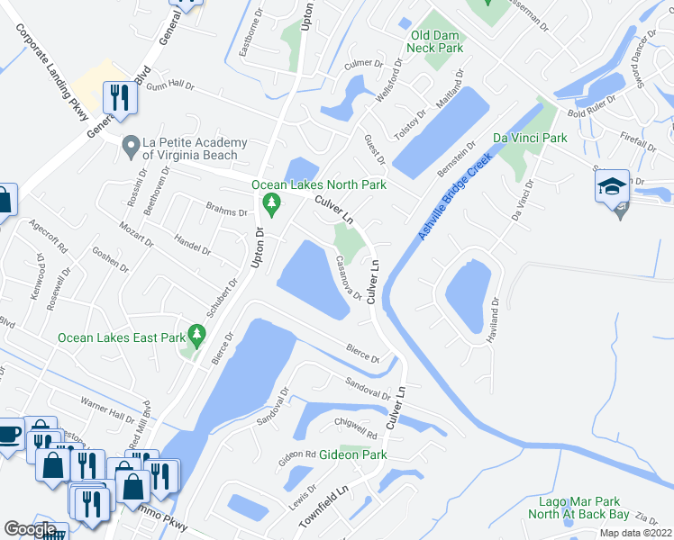 map of restaurants, bars, coffee shops, grocery stores, and more near 1029 Casanova Drive in Virginia Beach