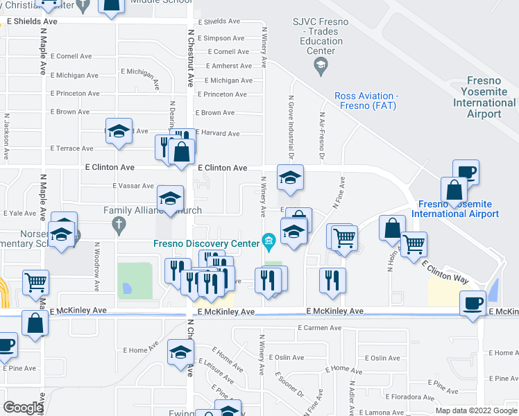 map of restaurants, bars, coffee shops, grocery stores, and more near 2155 North Winery Avenue in Fresno