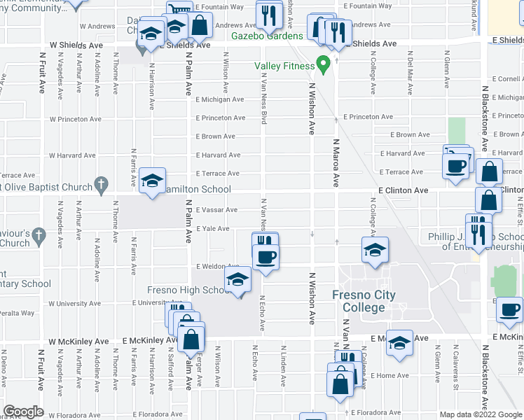 map of restaurants, bars, coffee shops, grocery stores, and more near N Van Ness Blvd & E Vassar Ave in Fresno