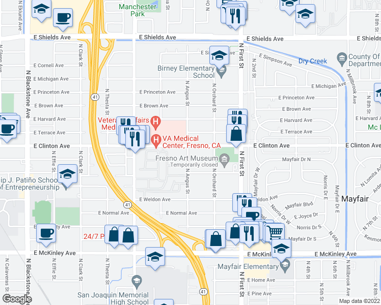 map of restaurants, bars, coffee shops, grocery stores, and more near 2318 North Angus Street in Fresno