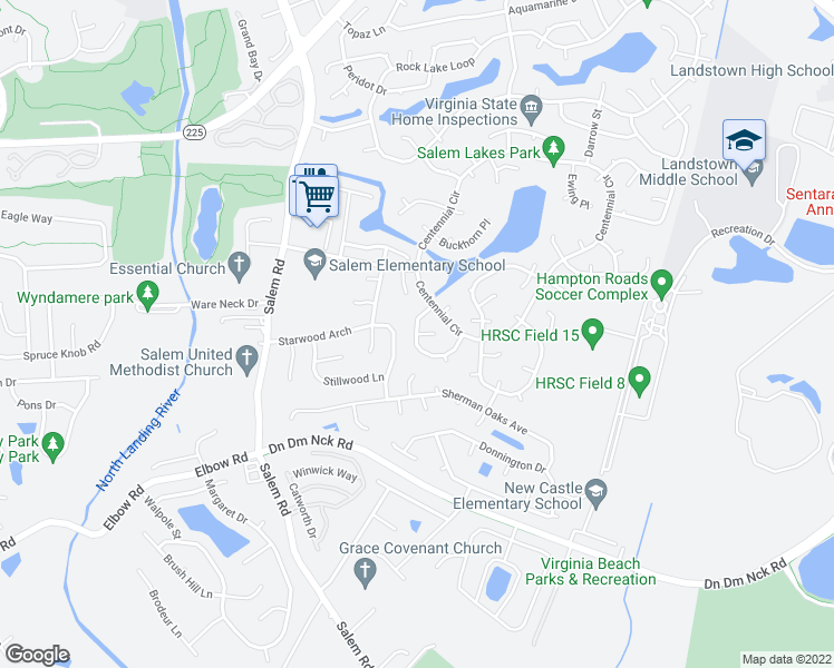 map of restaurants, bars, coffee shops, grocery stores, and more near 3998 Kiwanis Court in Virginia Beach