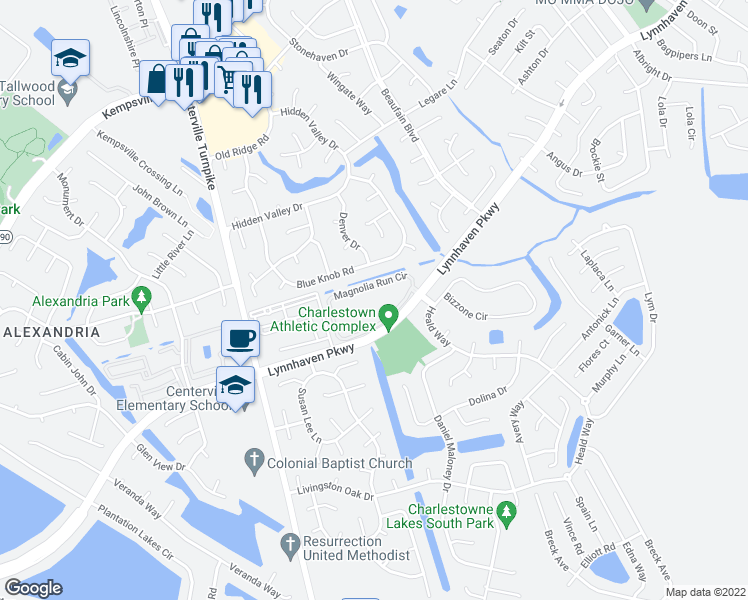 map of restaurants, bars, coffee shops, grocery stores, and more near 5697 Magnolia Run Circle in Virginia Beach