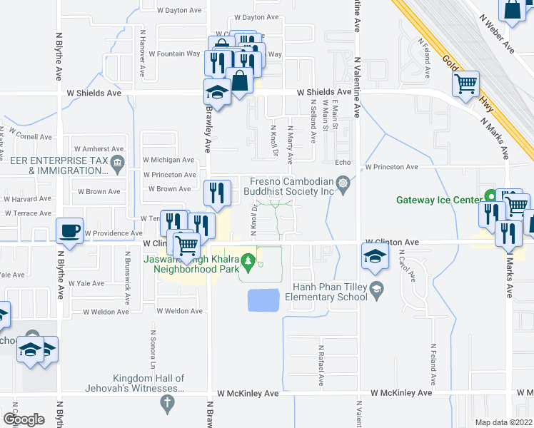 map of restaurants, bars, coffee shops, grocery stores, and more near 2523 North Dewey Avenue in Fresno