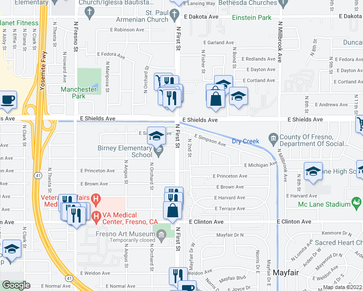 map of restaurants, bars, coffee shops, grocery stores, and more near 2950 North 1st Street in Fresno