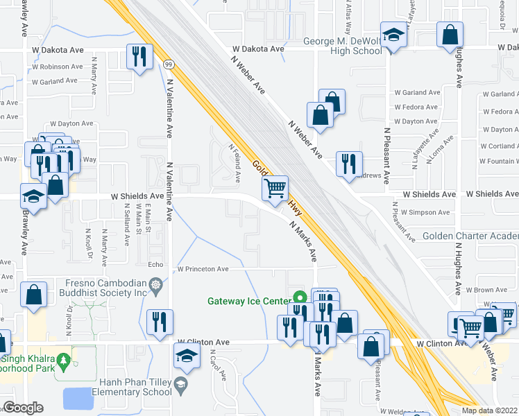 map of restaurants, bars, coffee shops, grocery stores, and more near 3165 West Shields Avenue in Fresno