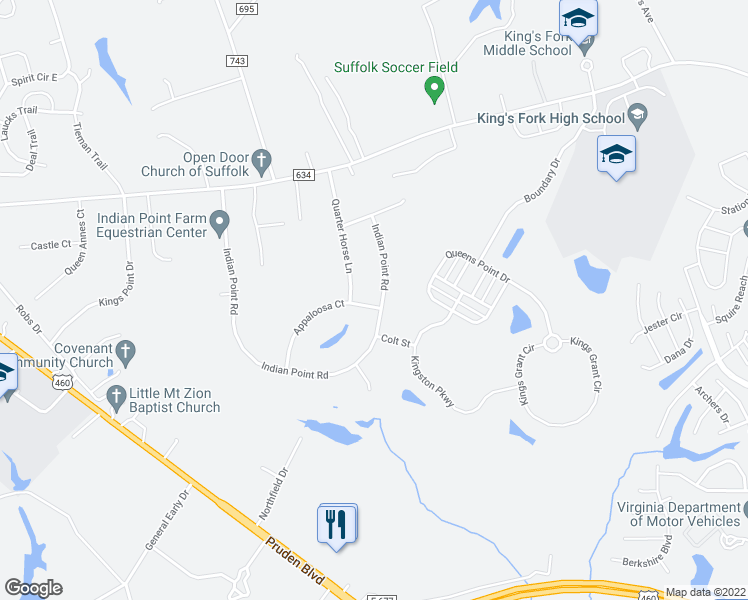 map of restaurants, bars, coffee shops, grocery stores, and more near 3008 Indian Point Road in Suffolk