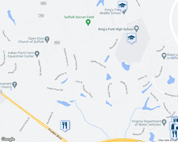 map of restaurants, bars, coffee shops, grocery stores, and more near 2044 Queens Point Drive in Suffolk