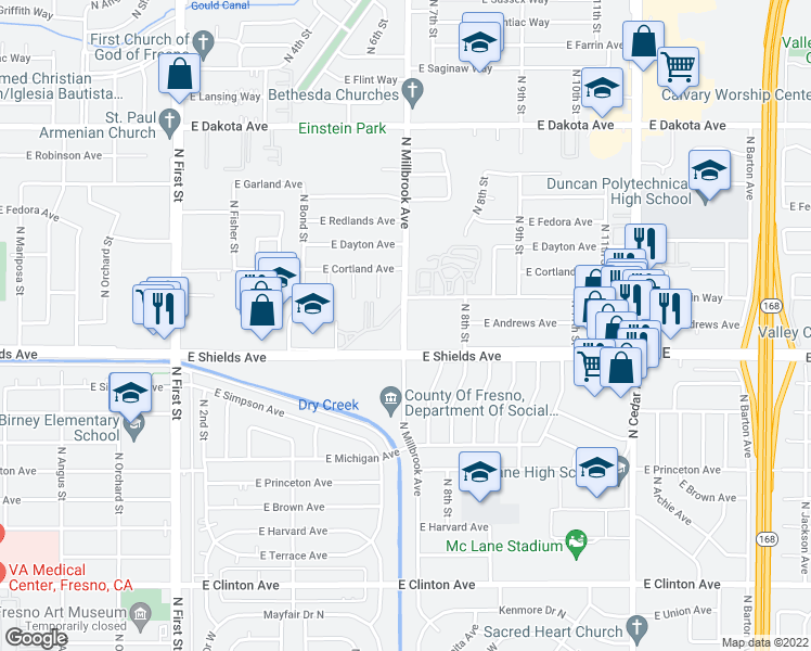 map of restaurants, bars, coffee shops, grocery stores, and more near 3707 East Shields Avenue in Fresno