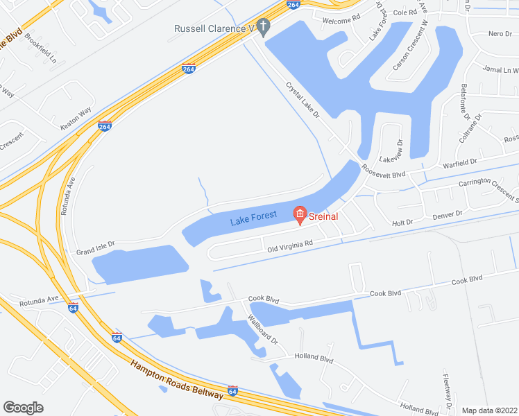map of restaurants, bars, coffee shops, grocery stores, and more near 3935 Grand Isle Drive in Chesapeake