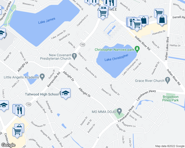 map of restaurants, bars, coffee shops, grocery stores, and more near 5524 Stewart Drive in Virginia Beach