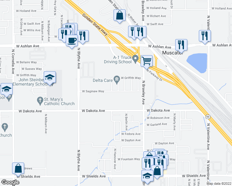map of restaurants, bars, coffee shops, grocery stores, and more near 3546 North Brunswick Avenue in Fresno