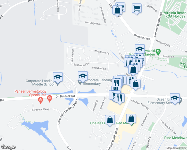 map of restaurants, bars, coffee shops, grocery stores, and more near 1534 Snowbird Court in Virginia Beach