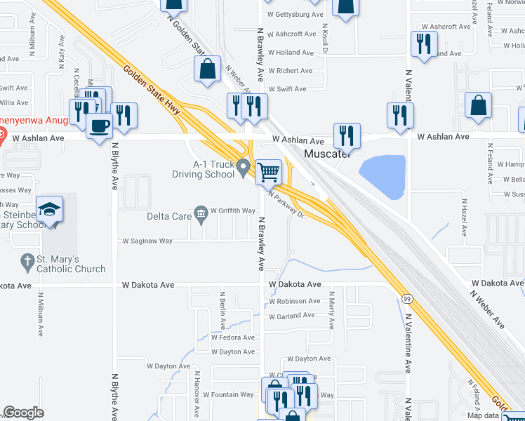map of restaurants, bars, coffee shops, grocery stores, and more near West Griffith Way in Fresno