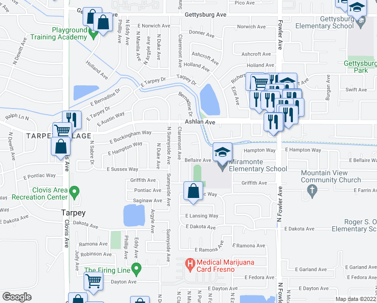 map of restaurants, bars, coffee shops, grocery stores, and more near 3310 Miami Avenue in Clovis