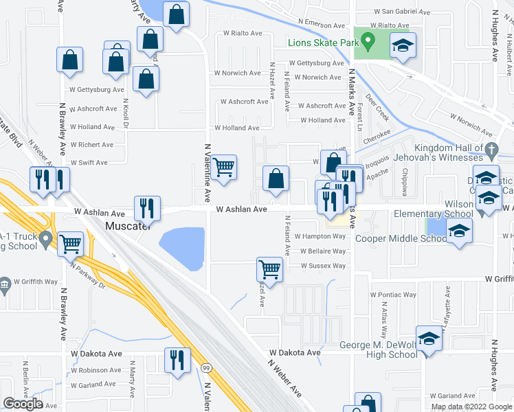 map of restaurants, bars, coffee shops, grocery stores, and more near 3239-3265 West Ashlan Avenue in Fresno