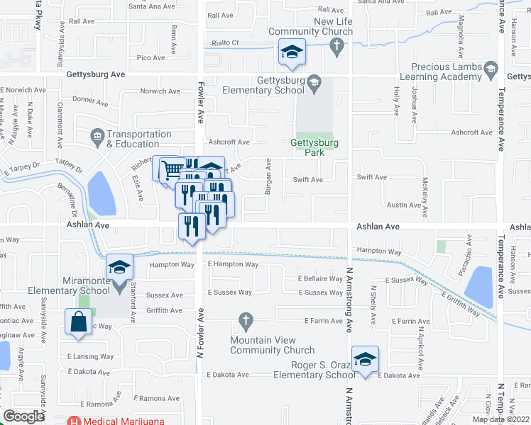 map of restaurants, bars, coffee shops, grocery stores, and more near 3159 Antonio Avenue in Clovis