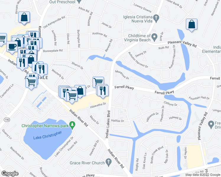 map of restaurants, bars, coffee shops, grocery stores, and more near Ferrell Parkway & Indian Lakes Boulevard in Virginia Beach