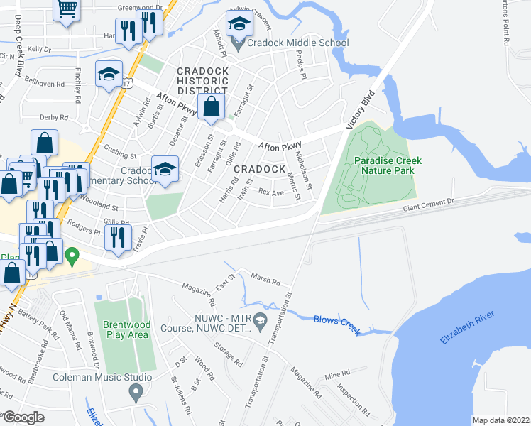 map of restaurants, bars, coffee shops, grocery stores, and more near 104 Dahlgren Avenue in Portsmouth