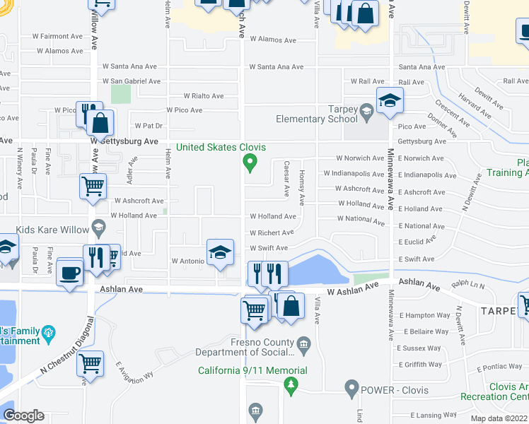 map of restaurants, bars, coffee shops, grocery stores, and more near 330 West Ashcroft Avenue in Clovis