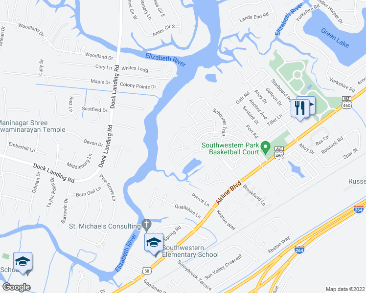 map of restaurants, bars, coffee shops, grocery stores, and more near 4213 High Tide Way in Chesapeake