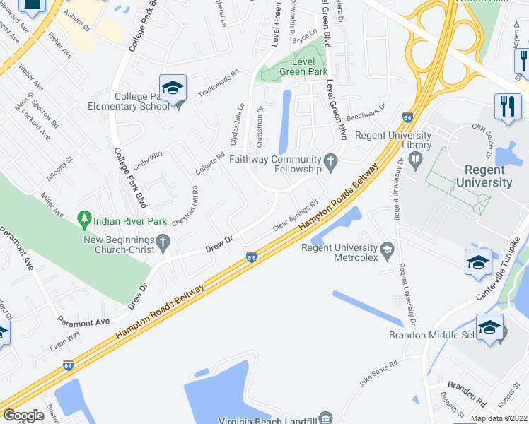 map of restaurants, bars, coffee shops, grocery stores, and more near 6282 Drew Drive in Virginia Beach