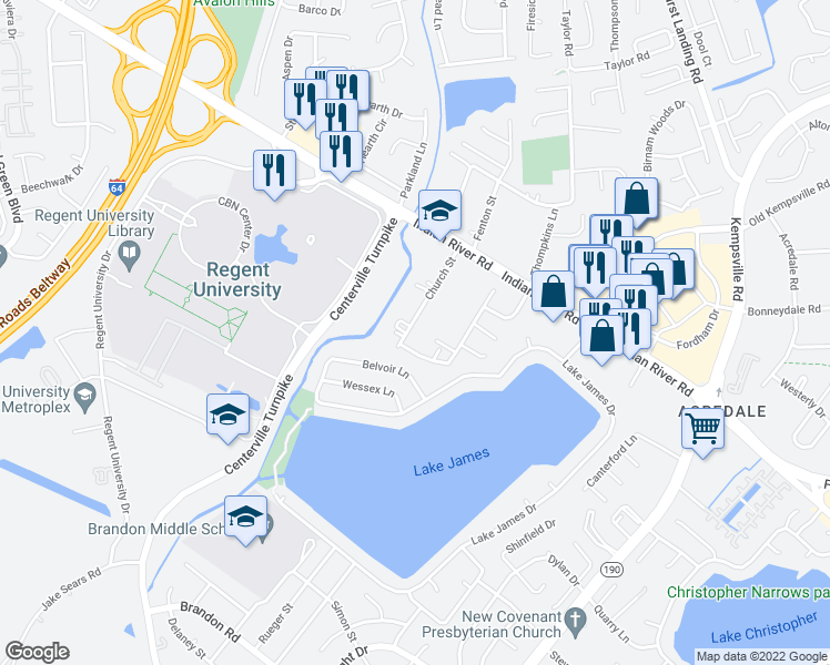 map of restaurants, bars, coffee shops, grocery stores, and more near 1336 Church Street in Virginia Beach